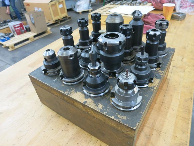 Cat 40 Taper Tool Holders, Assorted with Wood Divider (16 Tools) - Several Are ER20 Collet Holders