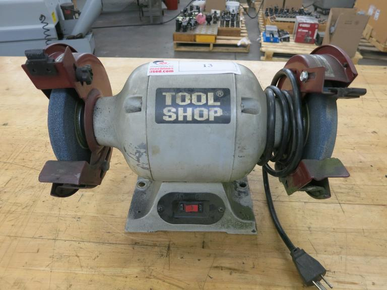 "Tool Shop 6"" Double End Bench Grinder, Wheel Guards, Tool Rests, 3,450 RPM , 1/2HP Motor"