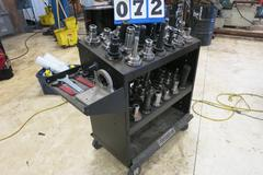 Huot Super Scoot 50 Taper Tool Cart Loaded with 48 Cat 50 Taper Tool Holders, Many ER32 Collet Holders and 5 Taper Tool Vise