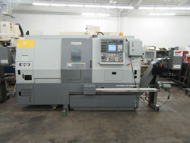 Hyundai-Kia SKT21LMS CNC Turning Spindle with Sub Spindle, Live Tooling, and Lexair Mini RhinoBar Barfeed