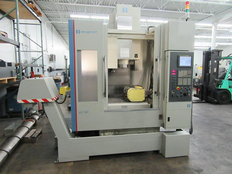 Hardinge-Bridgeport Model XR-760 5-Axis CNC Vertical Machining Center with Nikken 2-Axis Programmable Trunnion Table