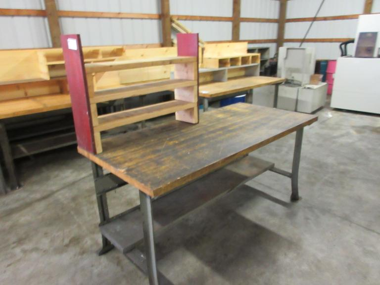 Maple Top Lyon Work Bench with Upper and Lower Shelf