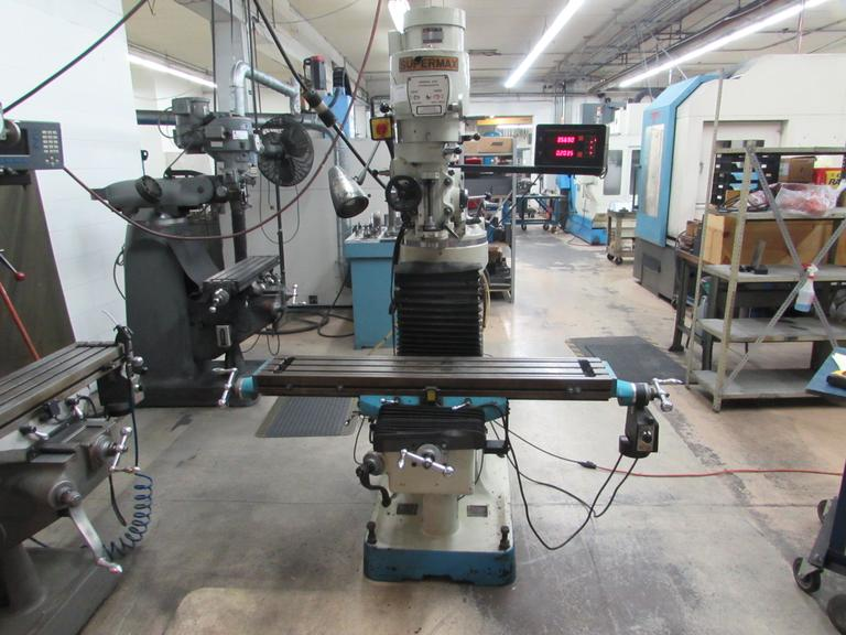 Supermax Model YC-1 1/2VS Vertical Tool Room Mill with 2-Axis DRO and Power Feed