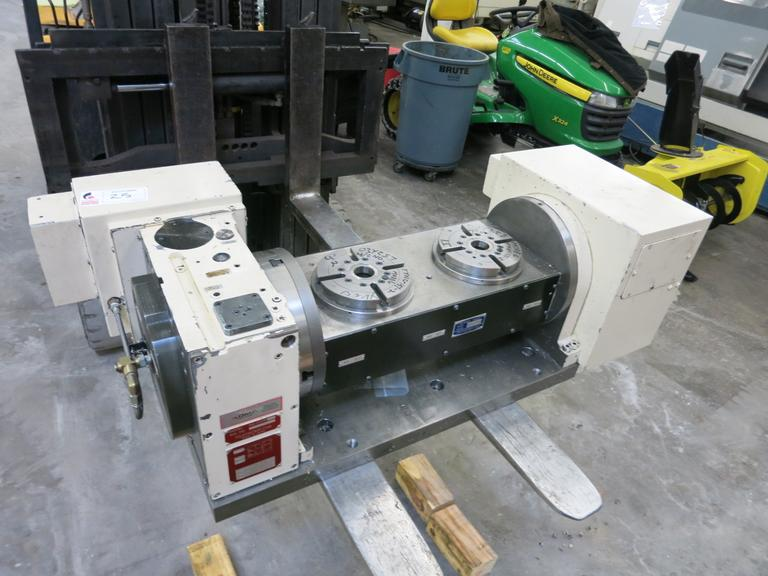 Tsudakoma TTNC-151-2 Dual Pallet 2-Axis Trunnion Style Programmable Rotary Table with Yaskawa Drive Motors