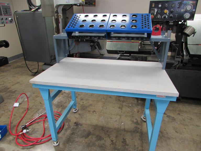 "48"" x 30"" Workplace Formica Heavy Duty Bench w 40 Taper And ER Collet Rack , w Tool Vise, Portable on Casters w/ SPI Vise"