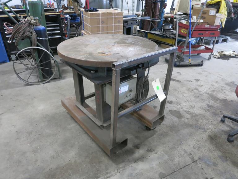 "M&M Model 36 RG Powered Rotating Weld Fixture, Portable On Casters, 36"" Diameter Work Plate, Variable Speed Rotation, Fork Slots"