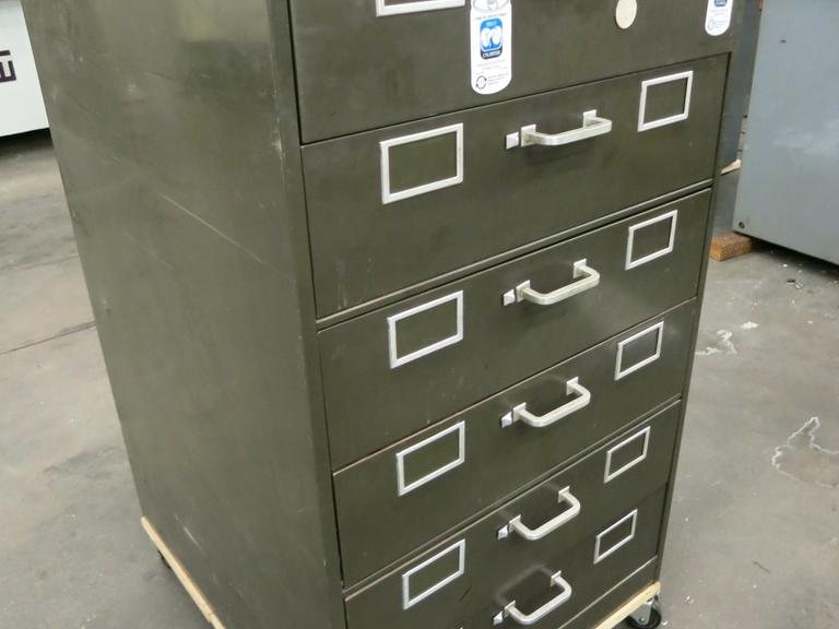 6-Drawer Metal Cabinet with Misc Contents and Rolling Base