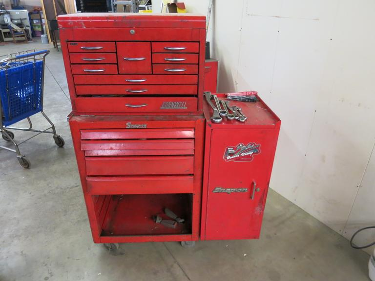 Machines Used Snap On Rolling Tool Cabinet With Cornwell Top Tool Box With Contents