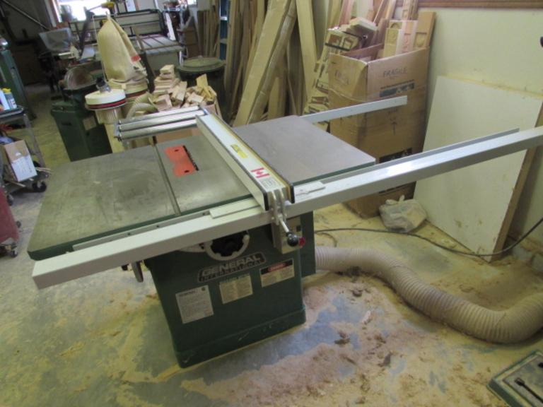 "General International Model 50-375 10"" Table Saw.  10"" Blade Capacity, 4000RPM, 48""x30"" Table, 45-Degree Blade Tilt, Rip Fence with 55"" of Travel, Miter Gage, 230V Single Phase Motor"
