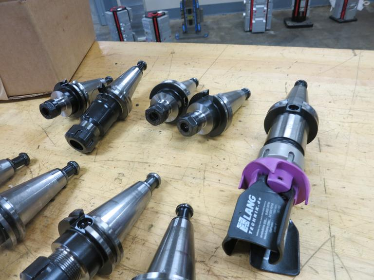 Cat 40 Taper Tool Holders (10): (6) ER16 Collet Holders, (3) ER25 Collet Holders, (1) ER32 Collet Holder With Chip Blower