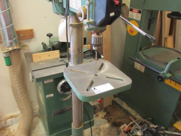 "General International Model 75-200MINC Drill Press. 8.5"" Throat, 12""x12"" Tilting Table, (12) Spindle Speeds, 3/4"" Capacity Golden Goose Drill Chuck, 3/4HP Motor, 120V Single Phase"