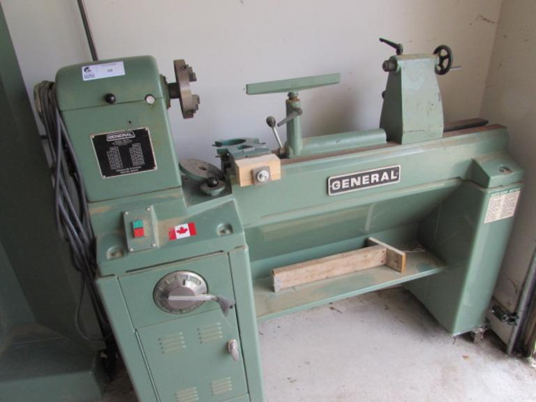 "General Manufacturing Model 26020-1 Wood Lathe.  20"" Swing Over Bed, 36"" Between Centers, (10) Spindle Speeds: 410 to 3250 RPM, Steady Rest, Tool Rest, Tracer, 64"" Bolt-On Bed Extension, 2HP Motor"