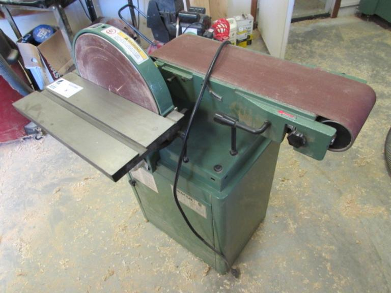 "General International Model 15-015M1 Belt/Disc Sander.  12"" Disc, 6"" Wide Belt, 7""x16"" Slotted Tilting Table, Cabinet Base, 120V Single Phase"