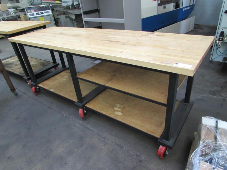 "Rolling Work Bench with 1 3/4"" Thick Solid Wood Top"