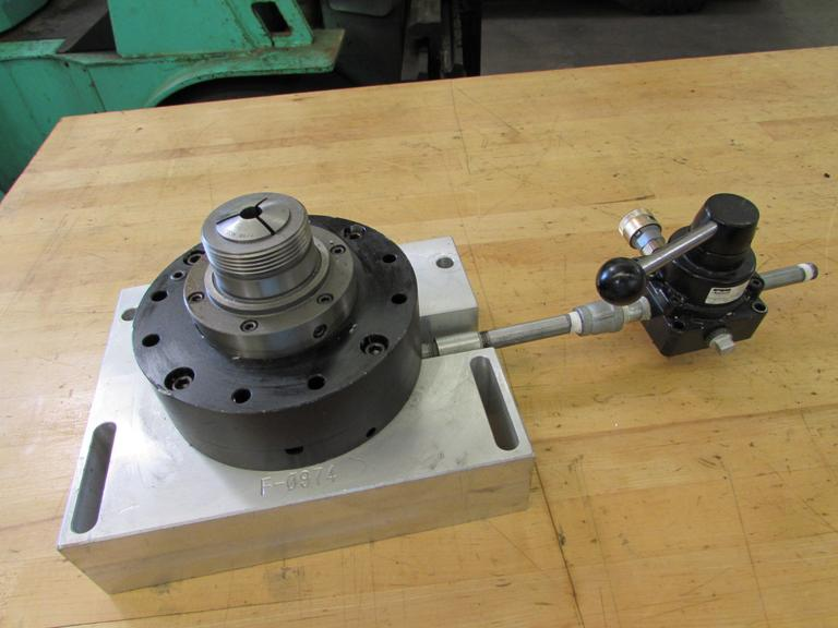 Pneumatically Actuated 5C Collet Closer with Valve, Mounted to Aluminum Plate.