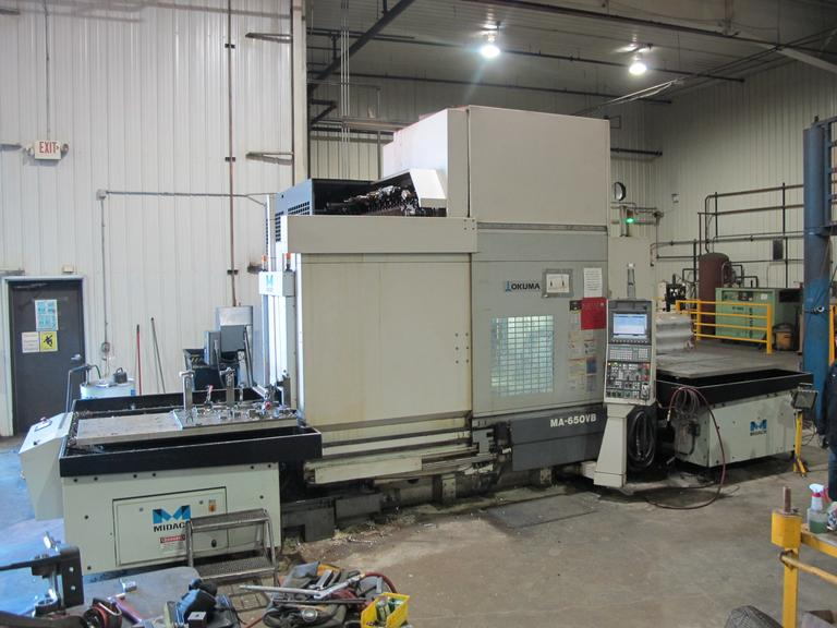 Okuma MA-650VB CNC Vertical Machining Center with (2) Midaco 60SD Side Address 2 Station Pallet Changers
