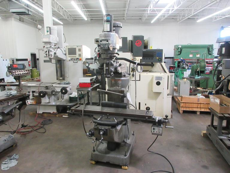 Bridgeport Series I 2HP Variable Speed Vertical Toolroom Mill with Acu-Rite 2-Axis DRO, Bridgeport Power Feed, Kurt Power Drawbar