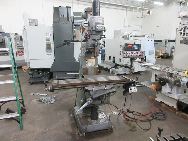 Bridgeport Series I 2HP Variable Speed Vertical Toolroom Mill with Sony 2-Axis DRO, Bridgeport Power Feed, Kurt Power Drawbar