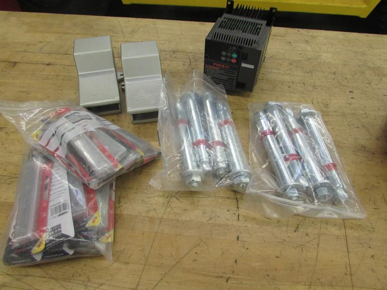 Assorted Items: Fuji Inverter, (2) Pneumatic Foot Switches, Anchors, Snap-Off Razor Blades