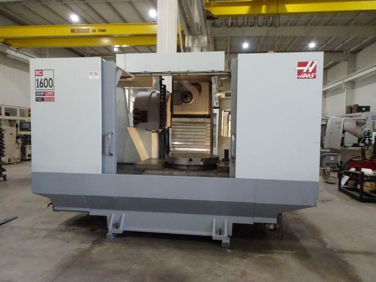 "Haas EC-1600 4 Axis 50 Taper Horizontal Machining Center w Integrated 30"" Programmable Rotary, Cat 50 Taper, 30 ATC, Thru Spindle Coolant"