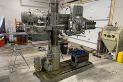 "Carlton 4' Arm 9"" Column Radial Arm Drill with Plain Box Table"