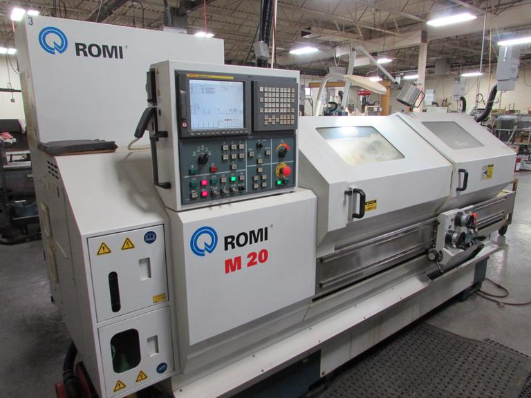 2007 Romi M20 CNC Flat Bed Lathe with Fanuc 21i-T Control 3-Jaw Chuck, Tool Post and Tooling