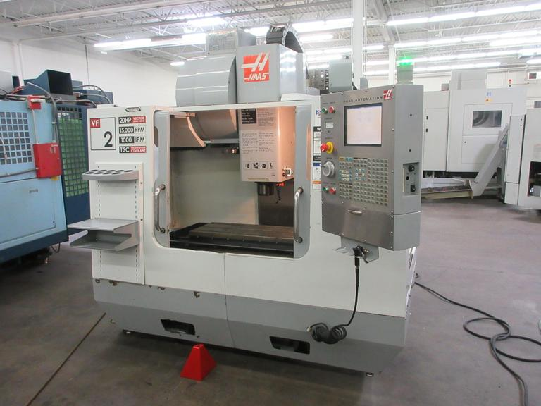 Haas VF-2 CNC Vertical Machining Center with 15,000 RPM Spindle, 25 Station Twin-Arm Automatic Tool Changer, Thru Spindle Coolant