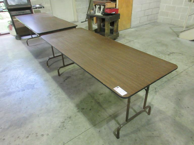 "(2) 6' x 30"" Wooden Top Folding Tables"