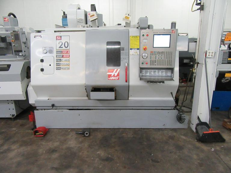 Haas SL-20 CNC Turning Center with Live Milling and Haas ServoBar 300 Bar Feed