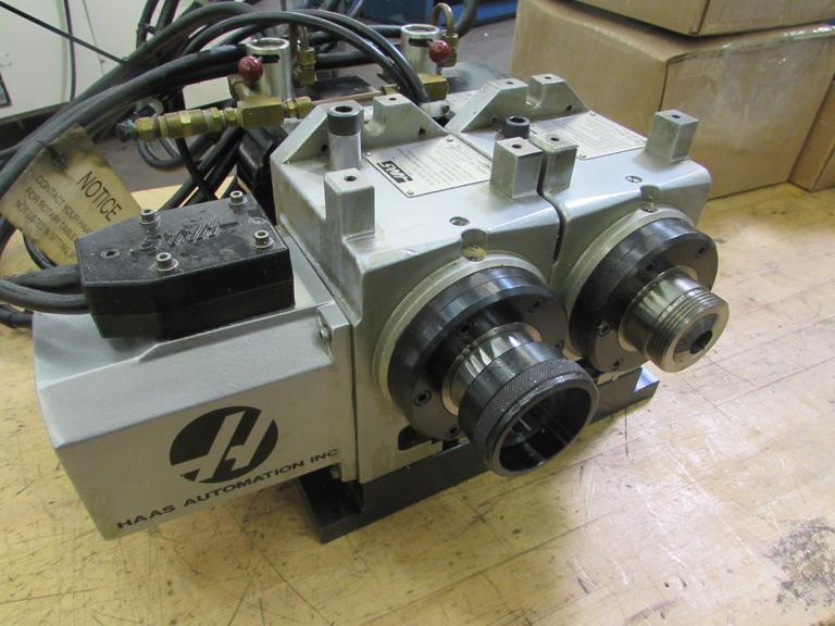 Haas HA5C 2 Twin Spindle Brushless 5C Indexer with Pneumatic Collet Closers. Sigma 1 Servos