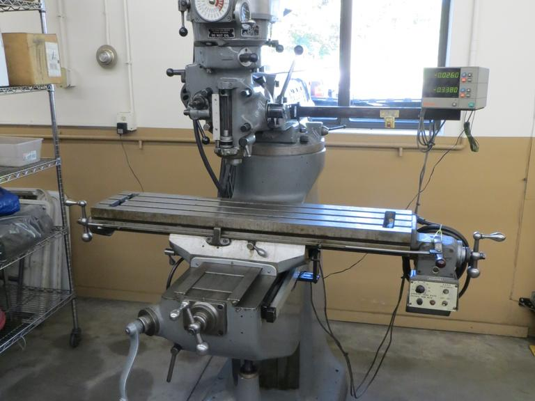 Bridgeport 2J Vertical Milling Machine with Mitutoyo 2-Axis DRO and Power Longitudinal Feed