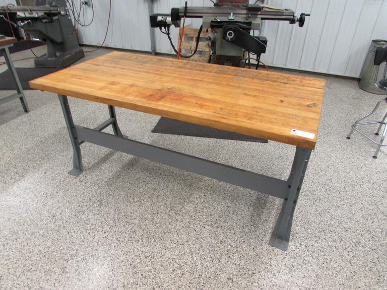 "Metal Frame Bench with 1-3/4"" Thick Solid Wood Top"