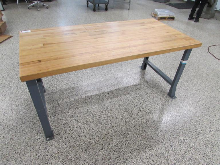 "Metal Frame Work Bench with 1-3/4"" Thick Solid Wood Top"