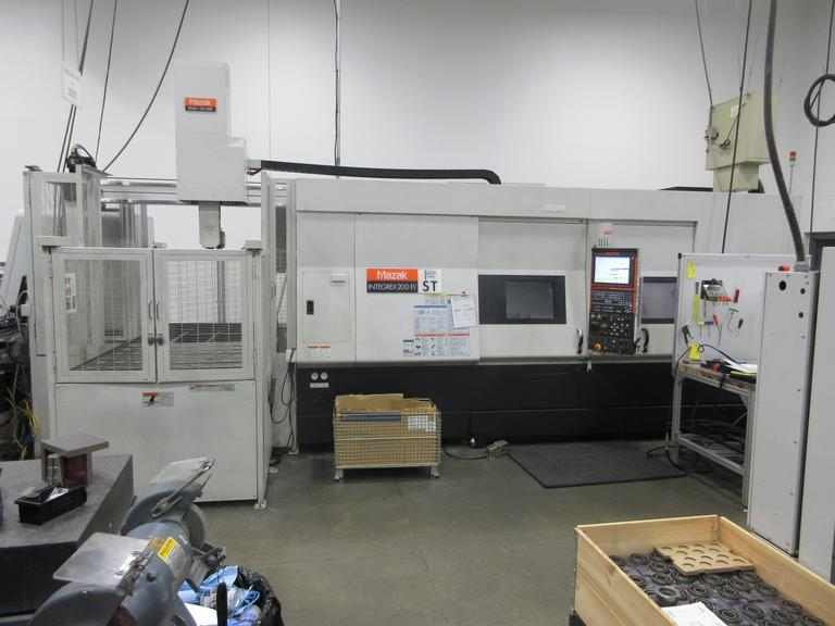 Mazak Integrex 200-IV ST CNC Multi-Axis Mill-Turn Lathe with B-Axis Milling Head, Sub Spindle, Lower Turret, and Mazak FLEX-GL150F Gantry Load/Unload System