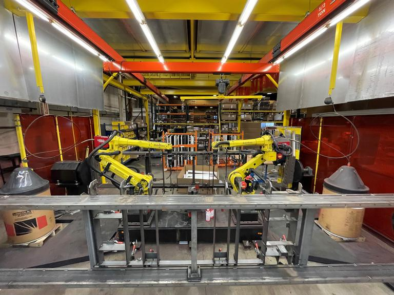 Fanuc Robotic Welding Cell with Fanuc Arc Mate 120iC/10L Welding Robots, Lincoln Power Wave 400i Welders with Wirefeed Units, Alpha 22i Servo Controlled Welding Positioners, and more!