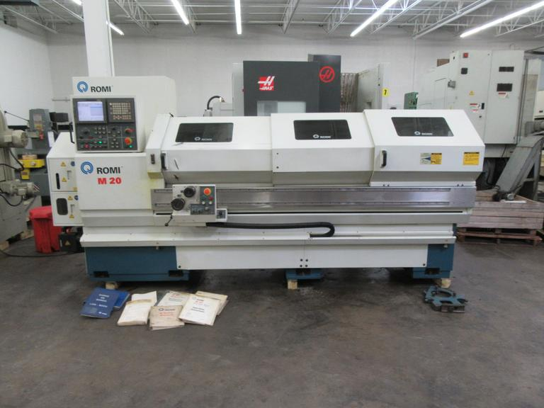 "Romi M20 CNC 20"" x 80"" Engine Lathe, Fanuc 21i-T  Control, 8 Station Programmable Tool Turret, Steady Rest, and Tailstock"