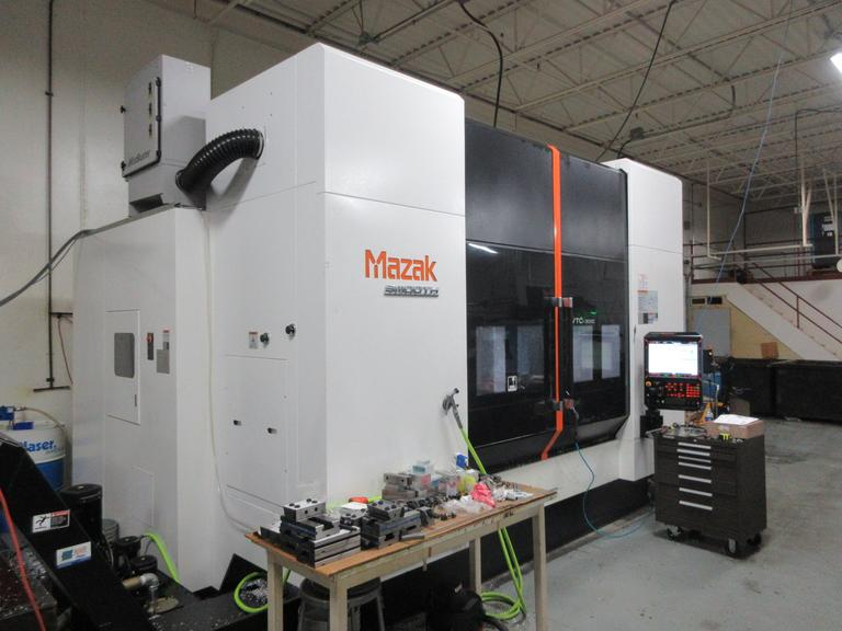 Mazak VTC-300C CNC Vertical Machining Center with Mazak 4th Axis Rotary Table. Through Spindle Coolant, Tool and Parts Probes, Expanded Tool Changer, and more!