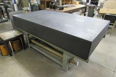 "DoAll 84"" x 48"" x 12"" Granite Surface Plate with Stand.  .00035"" Accuracty, No Lip, Wooden Cover"